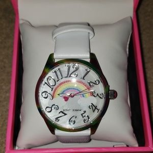 Betsey Johnson Up in the clouds rainbow watch